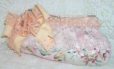Borsa POCHETTE stoffa rosa FIOCCO fiore perle pizzo confezione REGALO nuova  ❤