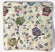 Colourful Owl Design Tapestry Cushion Cover 45cm x 45cm by Signare (no filling)