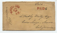 1851 Bradford NH stampless paid 6 rate to California [5247.36]