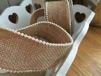 Hessian Ribbon Pearl Edge Burlap, Bouquet Wrap,Trim,Wedding, Craft  45mm / 1Mtr