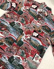 Reyn Spooner Wisconsin Badgers NCAA Hawaiian Shirt Mens M Medium Vintage