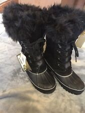 Khombu Nordic 2 Black Leather Thermolite Winter Snow Boots sz 7 NWT New