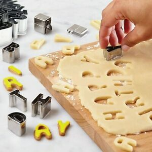 37pc Alphabet Letter Number Fondant Icing Cutter Set Cake Decorating Mould Metal