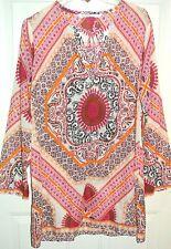Athleta Top Shirt Tunic Kaftan Cover Up Batik Handkerchief Print Silk Blend Sz M