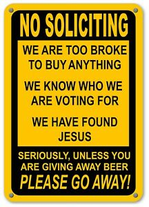 No Soliciting Humor Yellow Sign Go Away Front Door Fence Window Funny Yard Signs