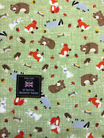 "Green Bears Foxes & Rabbit ""woodland"" Printed 100% Cotton Poplin Fabric."