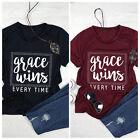 Fashion Women Summer GRACE WINS EVERYTIME Short Sleeve Loose Blouse T Shirt Tee