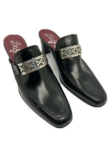 Brighton Tour Mule Boots Christo Collection Black Leather Woman's Shoes 9.5M
