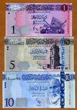 SET Libya, 1;5;10 Dinar, 2013-2015 (2016), Pick New, UNC
