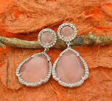 Rose Quartz with CZ Earrings- Sterling Silver- Gemstone Jewelry,Drop Studs,Fancy