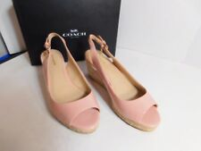 COACH - Peach rose color open toe shoes wedge heels size 8.5M (US) or 38.5 (EUR)