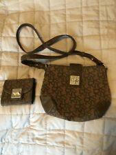 DKNY Designer Monogrammed Canvas Cross Body Bag and Matching Purse
