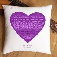 Christina Perri A Thounsand Years Lyrics Heart Cushion - 2nd Anniversary Wedding