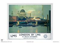 LONDON ST PAUL'S CATHEDRAL RETRO VINTAGE RAILWAY TRAVEL POSTER ADVERTISING