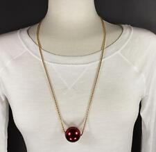 """Dk Red big huge faux pearl necklace bead beaded 29"""" long statement sweater gold"""