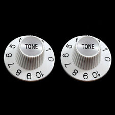 NEW (2) Witch Hat TONE Knobs For Split Shaft Pots Gibson Epiphone - WHITE