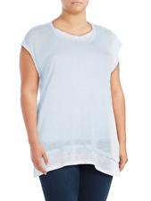 Vince Camuto Womens Plus Size 1X Drop-Shoulder Layer-Hem Tee Shirt Linen Blue