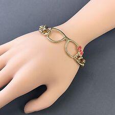 Designer Inspired Gold Cuban Link Chain Design Statement Bangle Bracelet