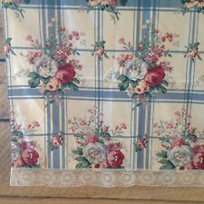 Vintage Curtain Country Blue Plaid Pink Cabbage Rose Lace Edge Handmade 51x47
