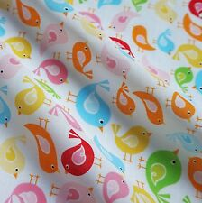 White Polycotton Fabric with Pastel Multicoloured Birds (Per Metre)