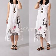 Women Boho Causal Cotton Linen Loose Fit Painted A-Line Long Dress M-XXL USA