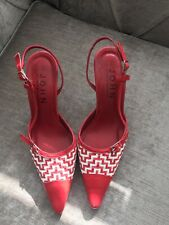 Red & White Sling Back Shoes  By John Richmond Size 4