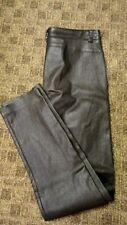 ESCADA Dark Brown Leather Solid Flat Zip Front Casual Pants Sz S GG8329