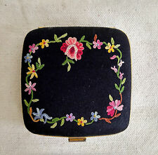 Lovely Antique Embroidery Compact Black Satin Powder Case