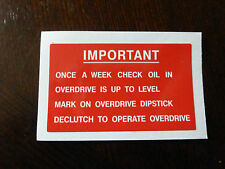 Land Rover Series 1 2 2a 3 Overdrive Fairey Fairy Info Dash Bulkhead Decal