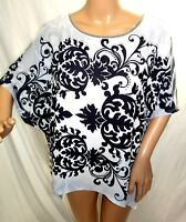 Agate Women Plus Size 1x 2x Black White Floral Chiffon Tee T Shirt Top Blouse