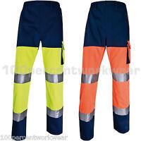 Delta Plus PHPAN Mens Work High Hi Viz Vis Cargo Trousers Pants Orange or Yellow