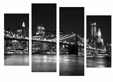 X LARGE NEW YORK  SKY LINE CANVAS WALL ART PICTURE MULTI 4 PANEL - 5 FEET WIDE