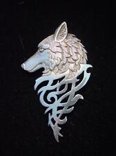 """""""JJ"""" Jonette Jewelry Silver Pewter VERY DETAILED Wolf Face Design Pin"""