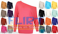 Batwing Off Shoulder Top Baggy Long Sleeve T-Shirt Casual Tops Womens Ladies NEW