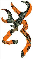 Browning Style Buck Realtree Orange Camo Camouflage Hunting Sticker Orange