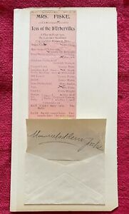 MRS. FISKE STAGE ACTRESS AUTOGRAPH & 1899 BROADSIDE OF TESS OF THE D'URBERVILLES