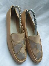 Clarks K Womens Beige/Silver Leather Narrow Fit Flat Wedge Shoes UK 6 EU 39