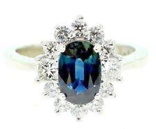 Royal  Blue Sapphire & Diamonds  2.49 tcw Ring Platinum size 6.5