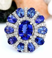 9.79CTW NATURAL BLUE TANZANITE AND DIAMOND RING 14K SOLID WHITE GOLD