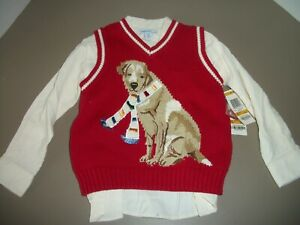 Greendog Children's Toddlers 3/3T Dog with Scarf Shirt & Sweater Vest Combo~NWT!