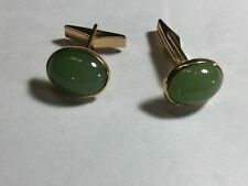 14K Gold Gumps Green Nephrite Jade Cufflinks Retro Art Deco Chinese Not Jadeite