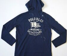 NEW RALPH LAUREN POLO NAVY MARINE FLAG LIGHTWEIGHT HOODIE HOODED T SHIRT XL