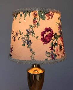 """1950s  PLASTIC /CARD LAMP SHADE  7"""" T X 9"""" B X 6 3/4"""" TALL - country roses"""