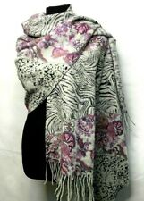 Pashmina 100% Wool Full Body Scarf Wrap Around Shawl Gray Animal Print & Floral