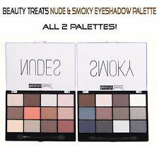 Beauty Treats NUDE & SMOKY Eyeshadow Palettes- Full Size 2 Palettes