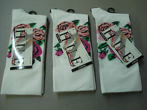 NWT Women's Hue Comfort Top Ultrasmooth Socks One Size 3 Pair White Floral #818E