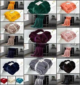Faux Fur Flannel Sherpa Faux Fur Throw Sofa Bed Mink Soft Warm Fleece Blanket