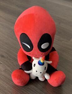 """Deadpool Riding A Unicorn HugMe Vibrating 16"""" Plush Toy"""