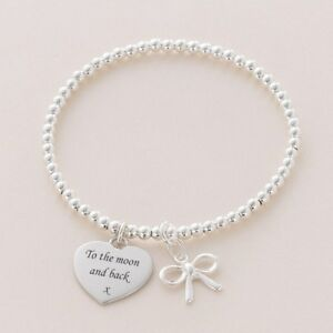 Ladies Personalised Bracelet for Stacking.  Any Engraving Free. Sterling Silver.