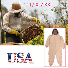 Professional Cotton Full Body Beekeeping Bee Keeping Suit W/ Veil Hood L/Xl/Xxl